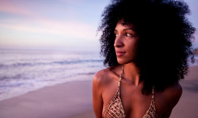 Black woman at the beach